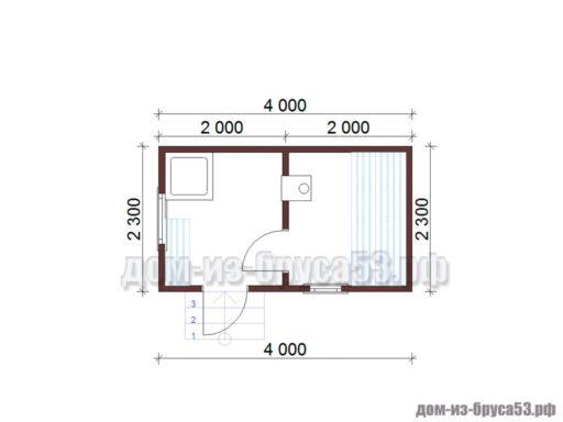 План мобильной перевозной бани длиной 4 метра