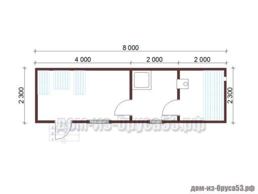 План мобильной перевозной бани длиной 8 метров