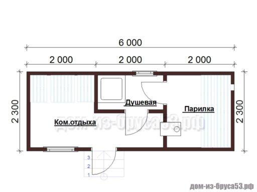 План мобильной перевозной бани длиной 6 метров