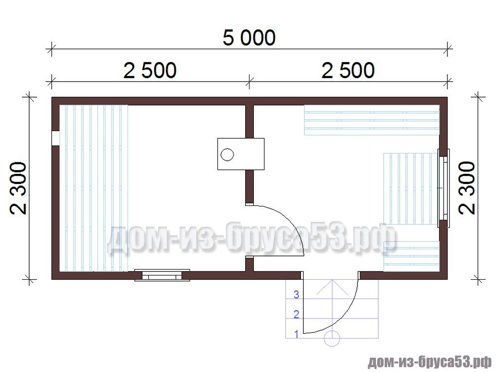 План мобильной перевозной бани длиной 5 метров
