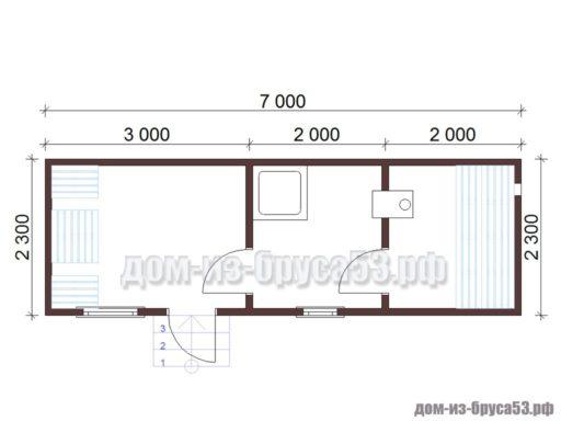 План мобильной перевозной бани длиной 7 метров