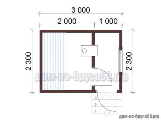 План мобильной перевозной бани длиной 3 метра