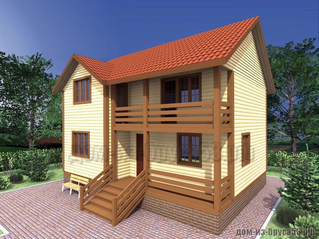 Проект №302. Дом из бруса 7х9