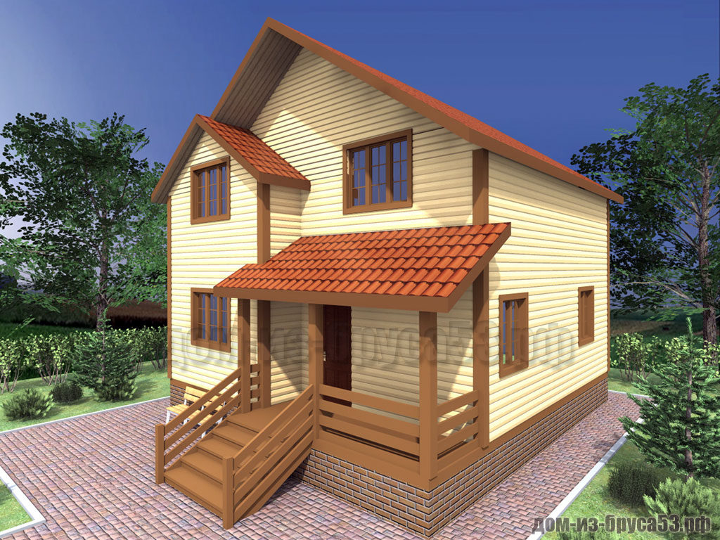 Проект №303. Дом из бруса 8х8