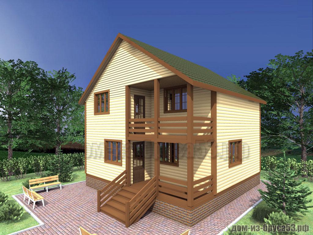 Проект №304. Дом из бруса 8х8