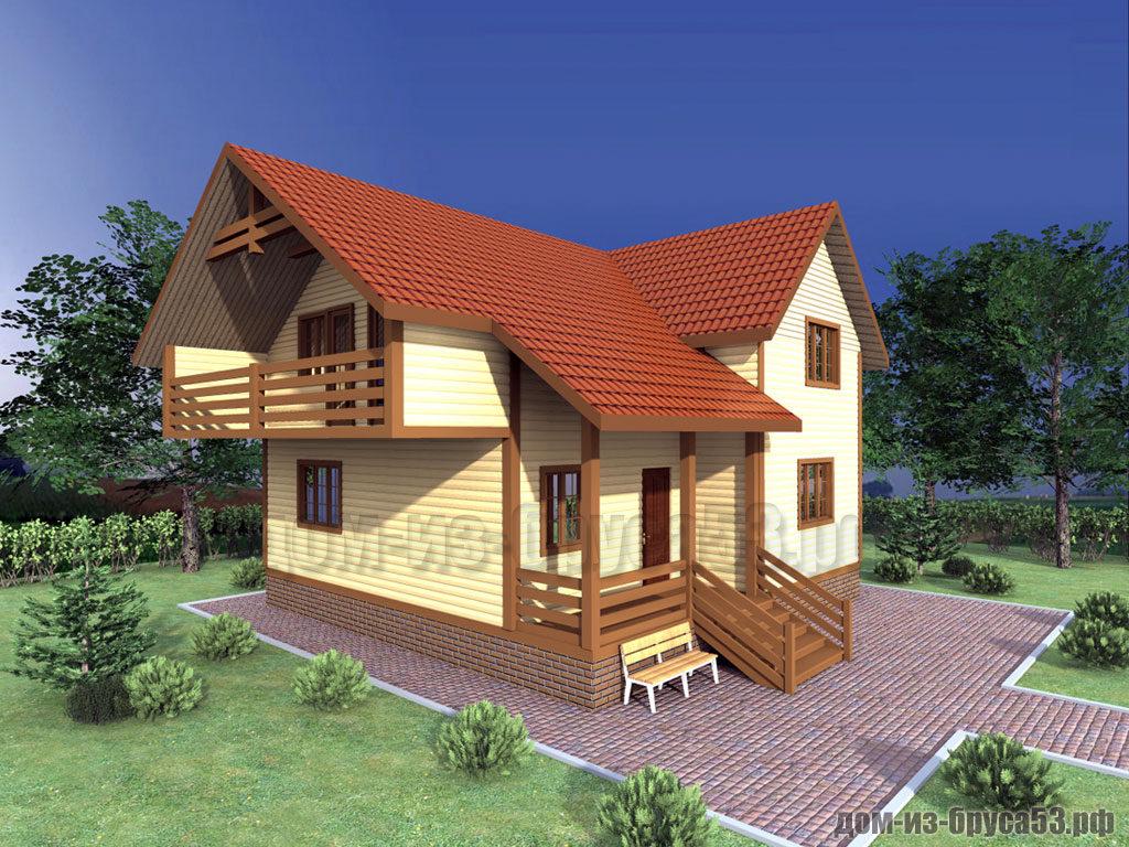 Проект №312. Дом из бруса 9х9