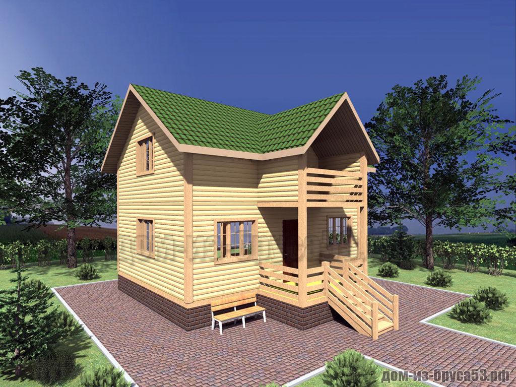 Проект №317. Дом из бруса 6х8