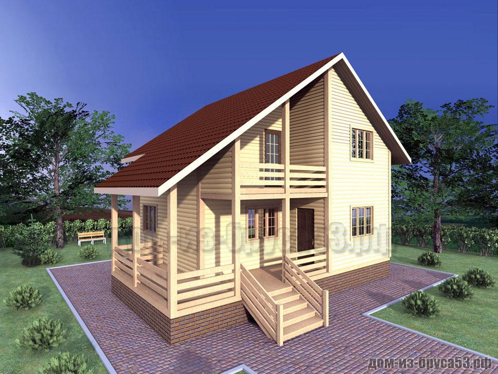Проект №318. Дом из бруса 8х8
