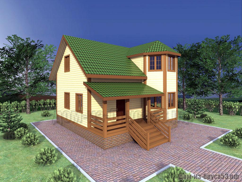 Проект №320. Дом из бруса 8х8