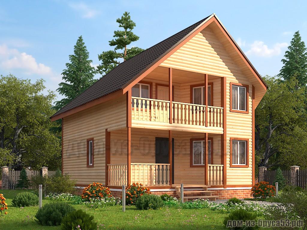 Проект №611. Дом из бруса 8х8