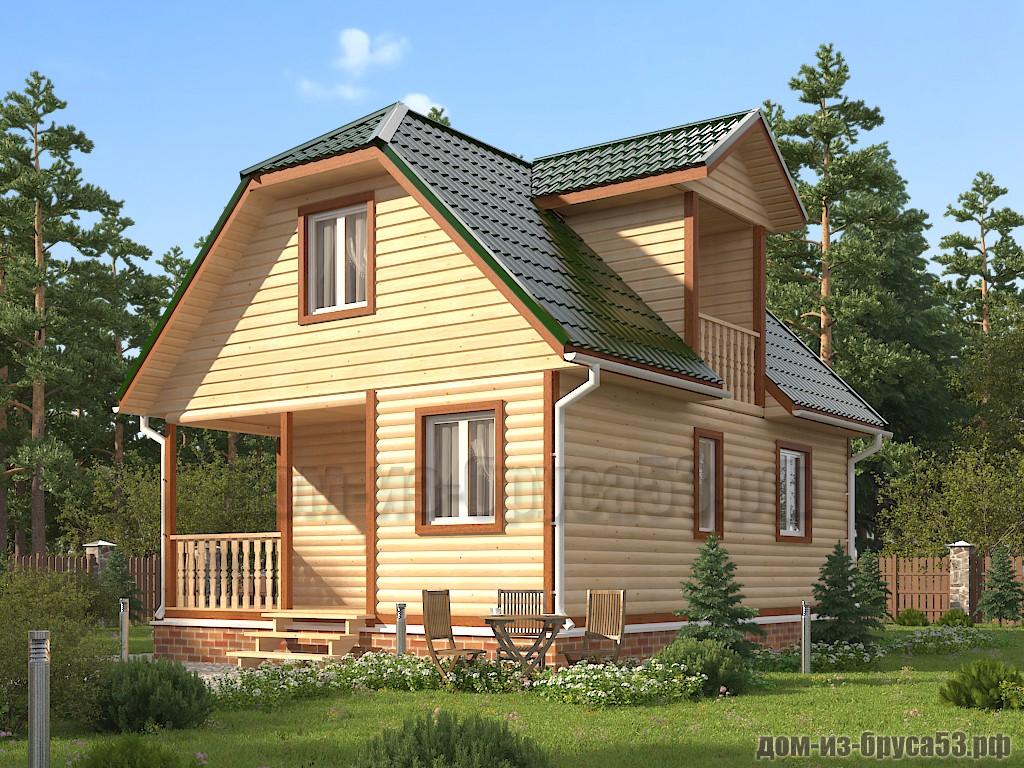 Проект №629. Дом из бруса 6х8