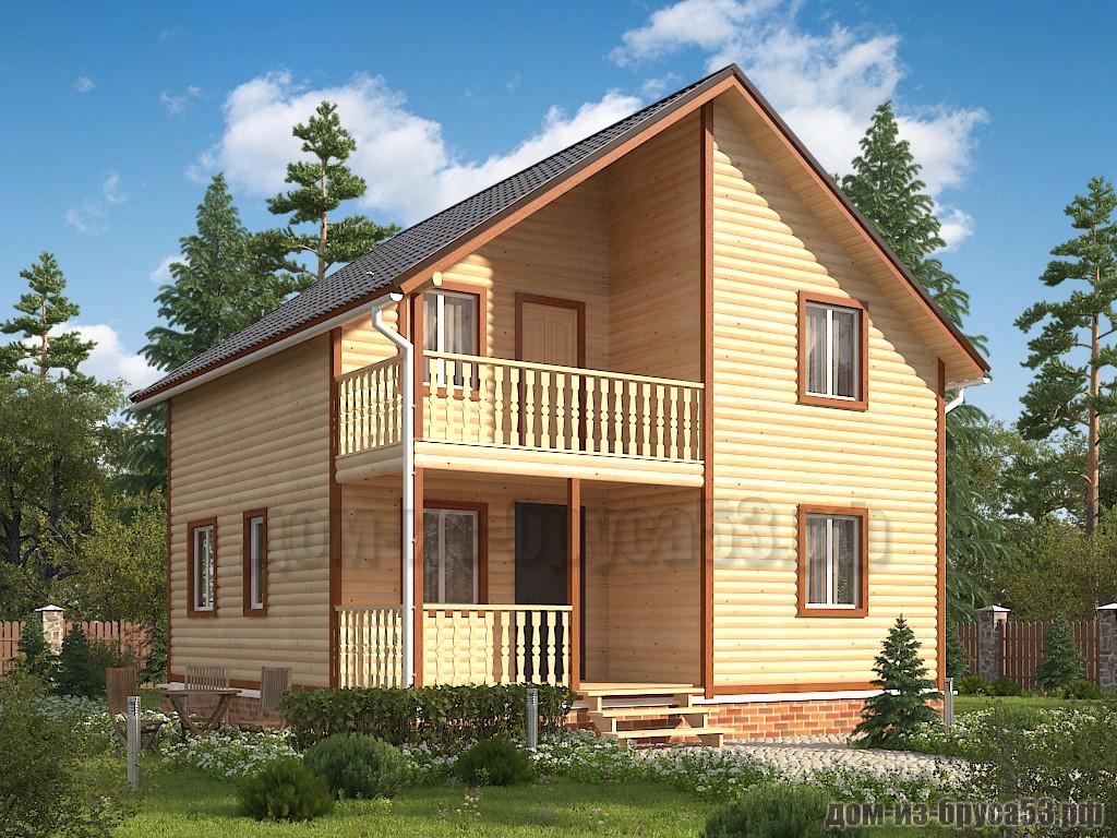 Проект №637. Дом из бруса 8х8