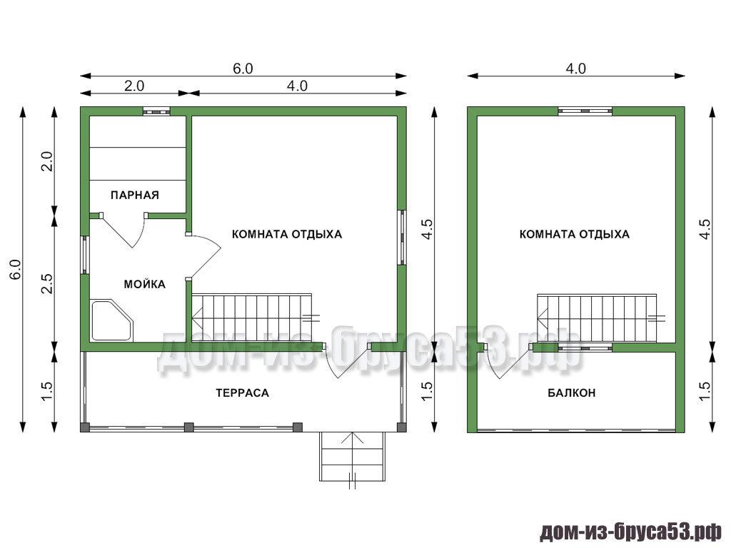 Проект бани из бруса 6х6. Комната отдыха 4х4.5; парная 2х2, мойка 2х2.5, мансарда 4х4.5; балкон 4х1, терраса 6х1.5