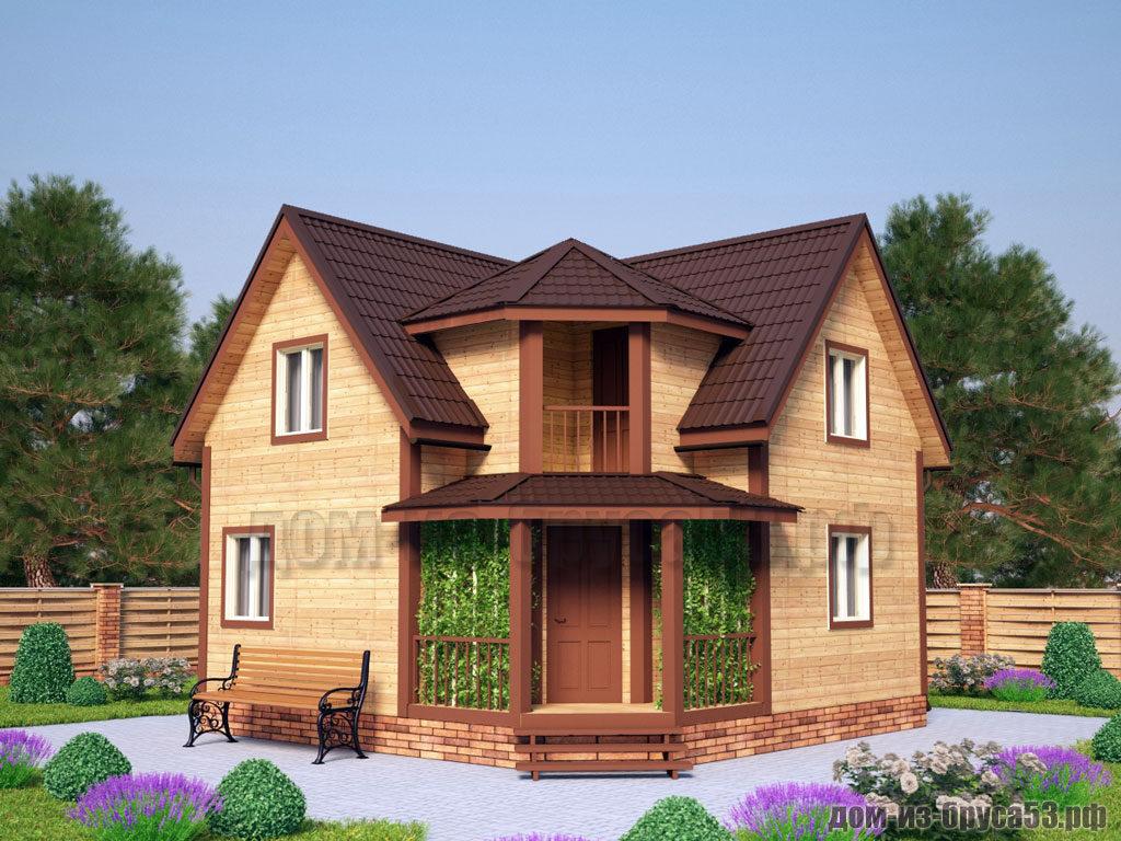 Дом из бруса 8х8 с террасой Проект №657.
