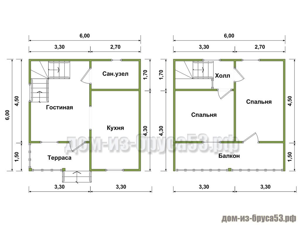 Планировка дома 6х6