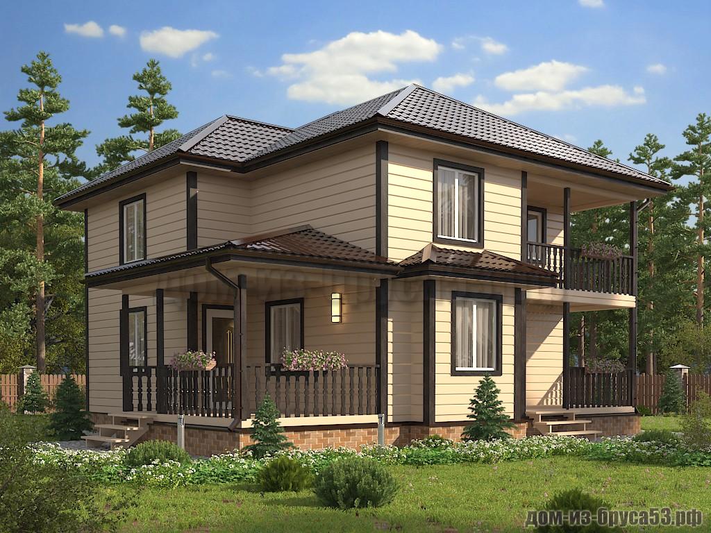 Каркасный дом 11х11 двухэтажный К634.