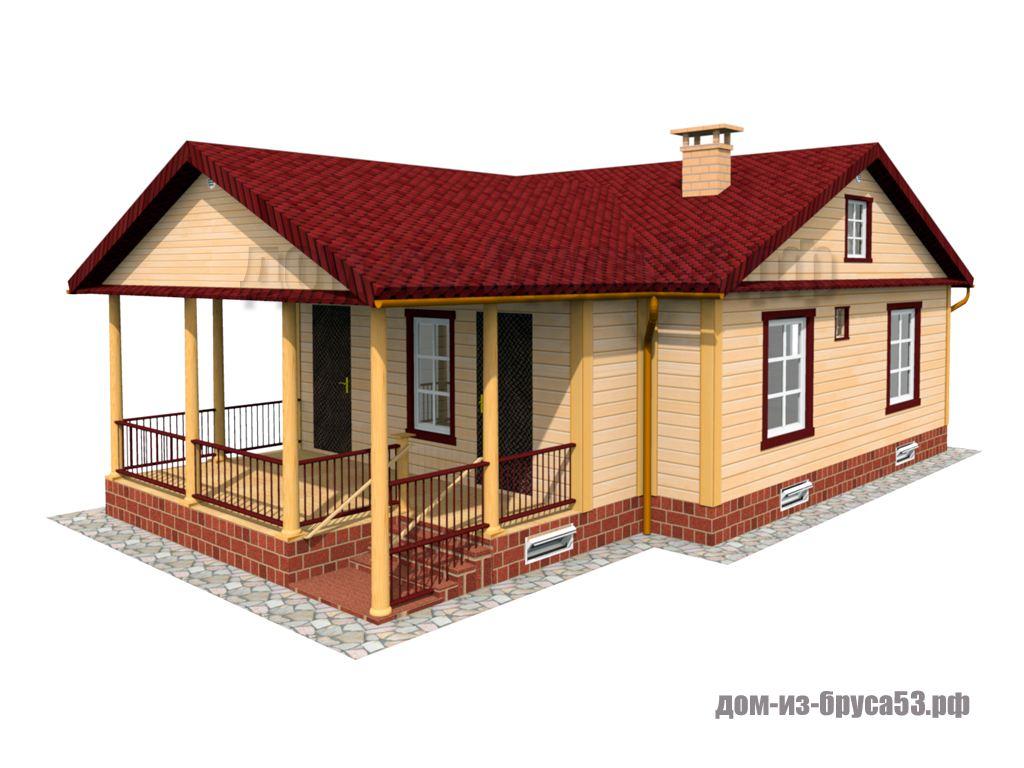 Каркасный дом 8х8 с террасой  К661.
