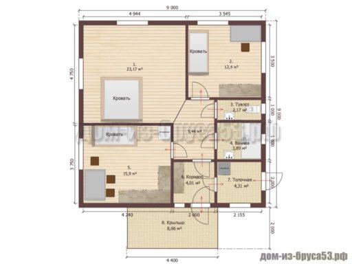 План дома 9х9 с мебелью